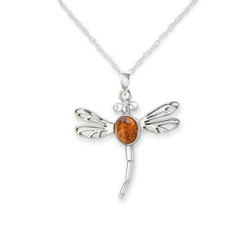 Outlander Inspired Dragonfly Silver Pendant With Amber